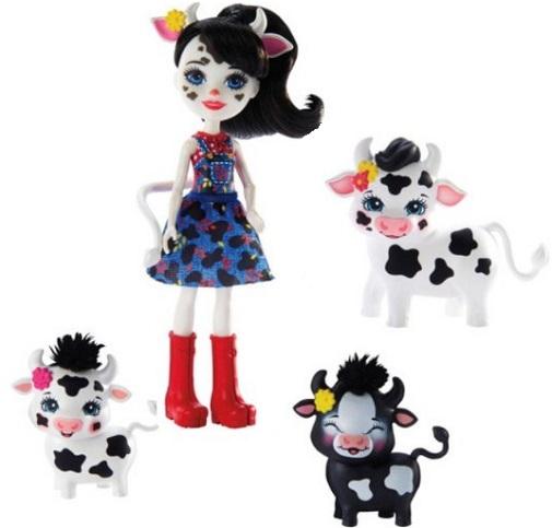 Кукла Cambrie Cow, коровка Ricotta и 2 теленка Enchantimals Mattel
