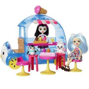 Набор Фургончик мороженого с 2 куклами Паубри Миша Поляри и Прины Пингвины Enchantimals