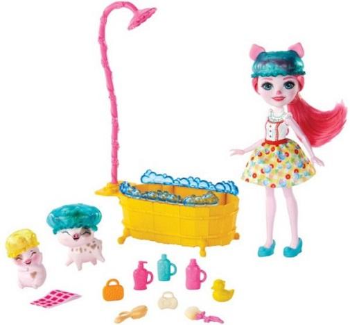 Набор Купание с куклой Petya Pig и свинками Streusel и Nisha Enchantimals