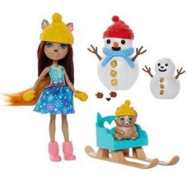 Кукла, Белочка на санках и два снеговика Enchantimals