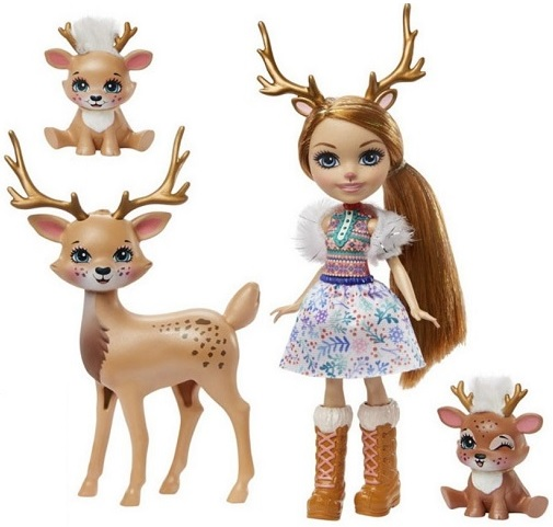 Кукла Олень с золотыми рожками и два олененка Reindeer Family Enchantimals