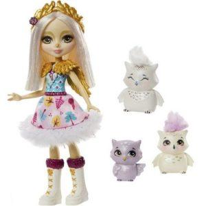 Кукла Сова с золотыми крыльями и три совенка Snowy Owl Family Enchantimals