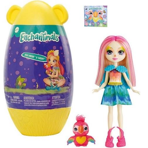 Кукла попугай Peeki Parrot и питомец Sheeny в домике Enchantimals